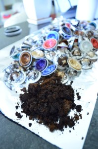 Coffee grounds from recycled Nespresso pods