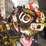 Lion dance at Chinese New Year