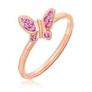 Tiaria Ruby Rouge Butterfly Butterfly Ring Cincin 18K Emas