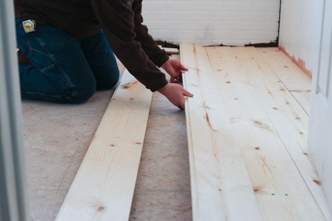 Using Pine Boards As Flooring ~ Diy shiplap pine wood floors bathroom makeover progress