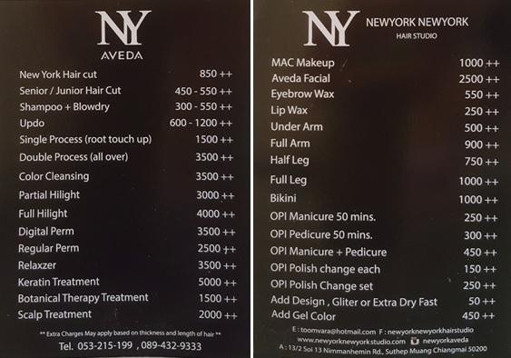 Chiang Mai Hair Salon: NewYork NewYork prices