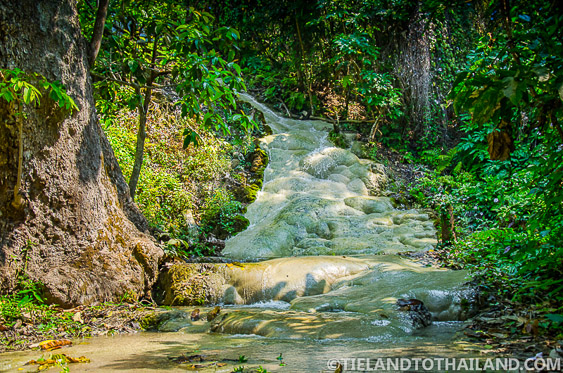 Sticky Waterfalls in Chiang Mai, or Buatong Waterfalls and its white Limestone and Calcium Deposits