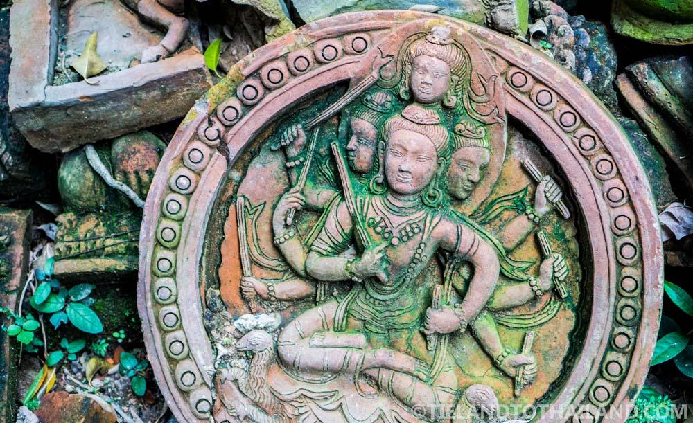 Terracotta wall hanging at Terracotta Arts Garden in Chiang Mai, Thailand