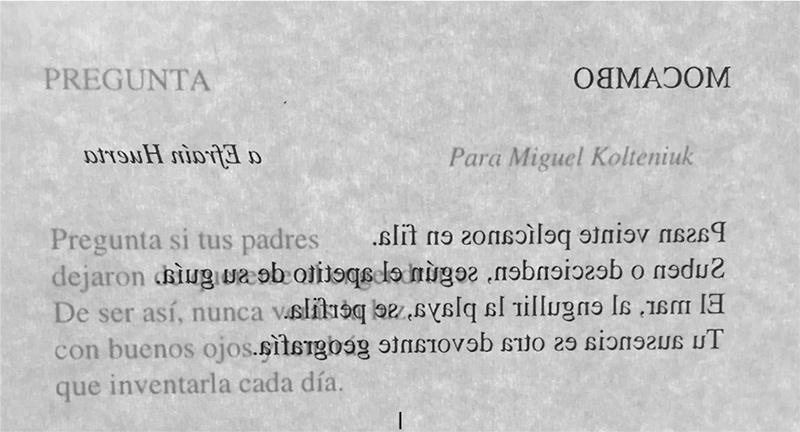 «Mocambo» en Poesía reunida, México, UNAM, 1996, p. 542, en espejo.