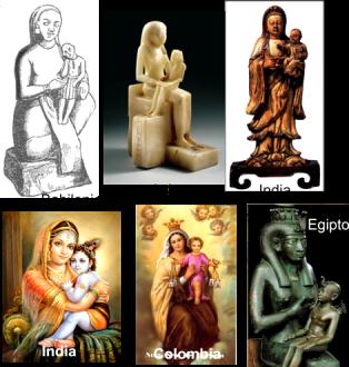 Distintas representaciones de diosas con sus hijos.