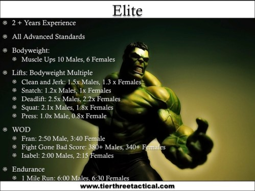 Crossfit Elite Standards Data