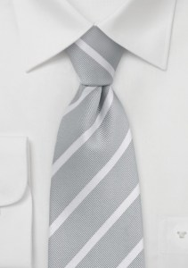 Classic Silver and White Striped Necktie