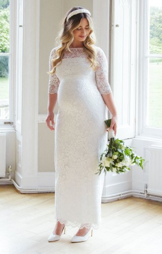 Amelia Lace Maternity Wedding Dress Long (Ivory) maternity dresses for weddings Amelia Lace Maternity Wedding Dress Long Ivory Maternity Wedding Dresses Evening Wear and Party Clothes by Tiffany Rose