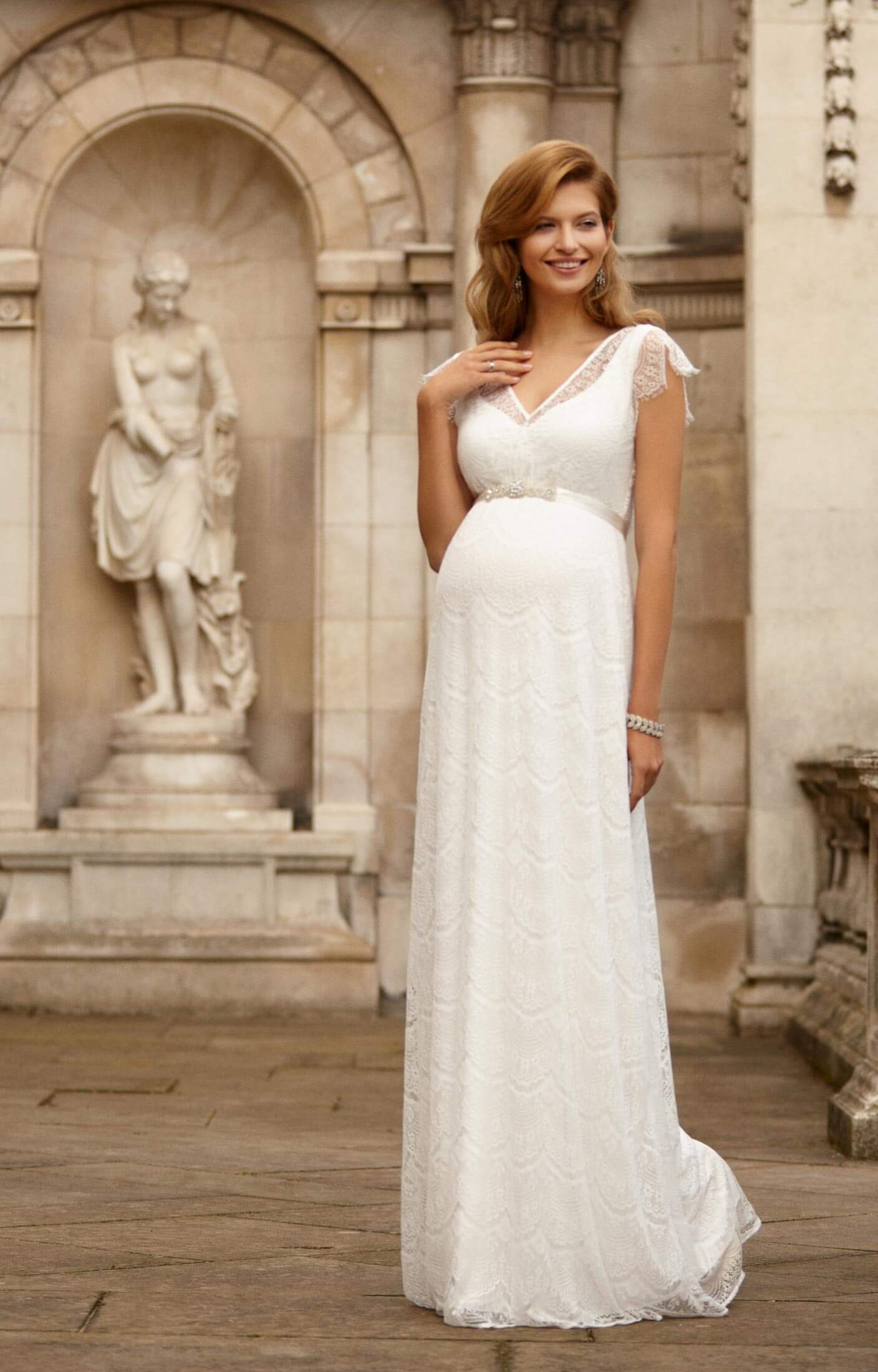 Kristin Maternity Wedding Gown Long Ivory pregnant wedding dress Kristin Maternity Wedding Gown Long Ivory by Tiffany Rose