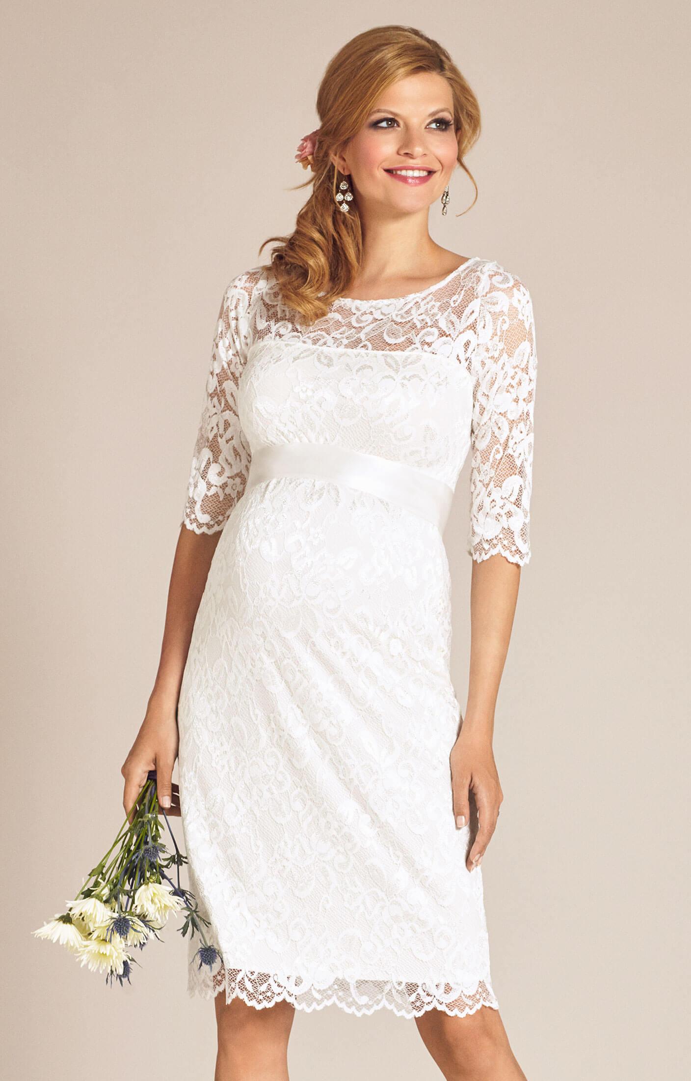 wedding dresses maternity dresses for weddings Amelia Lace Maternity Wedding Dress Short Ivory
