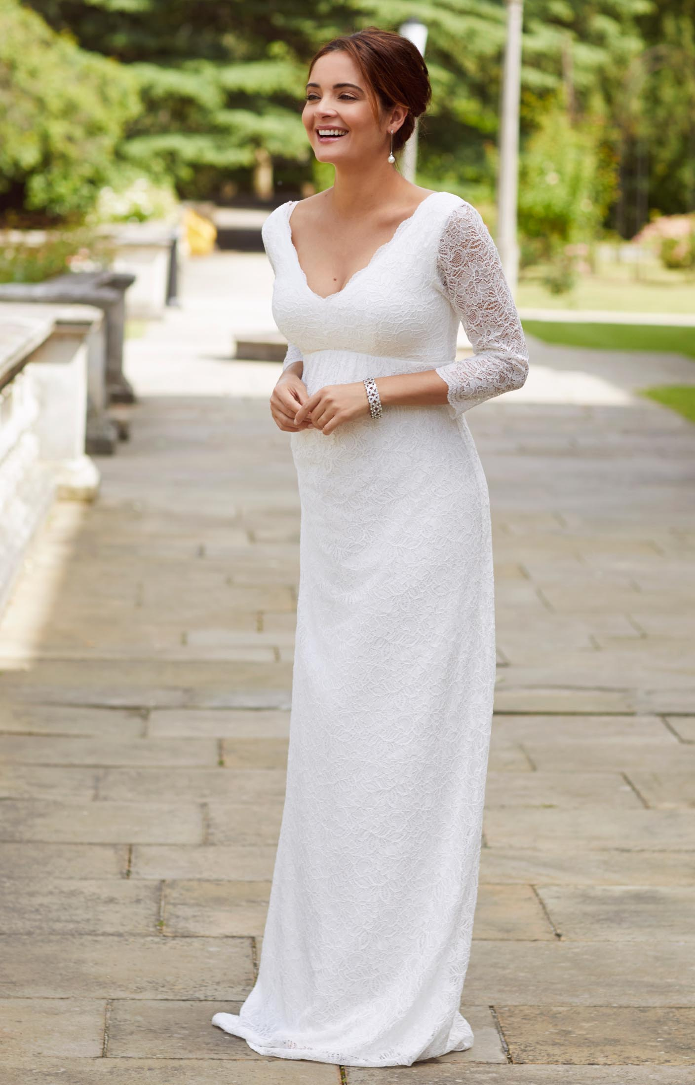 wedding dresses maternity dresses for weddings Chloe Lace Maternity Wedding Gown Ivory
