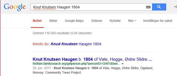 Søkebildet på Google