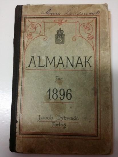 Anna Landmarks almanakk med dagboknotater for 1896