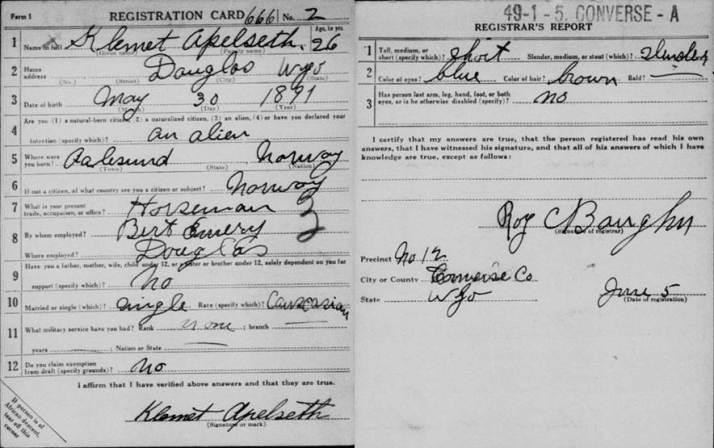 WWI draft record funnet på FamilySearch - gratis