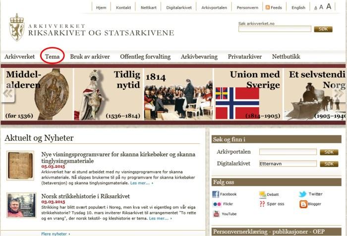 """""""Forsiden"""" av arkivet.no"""