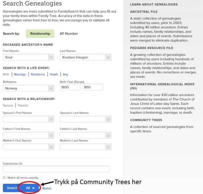Her er den felles søkesiden i FS hvor du kan velge Community Trees