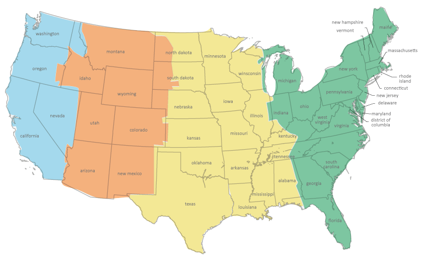 Us Map By Time Zone With State: Us Map With States And Timezones At Usa Maps