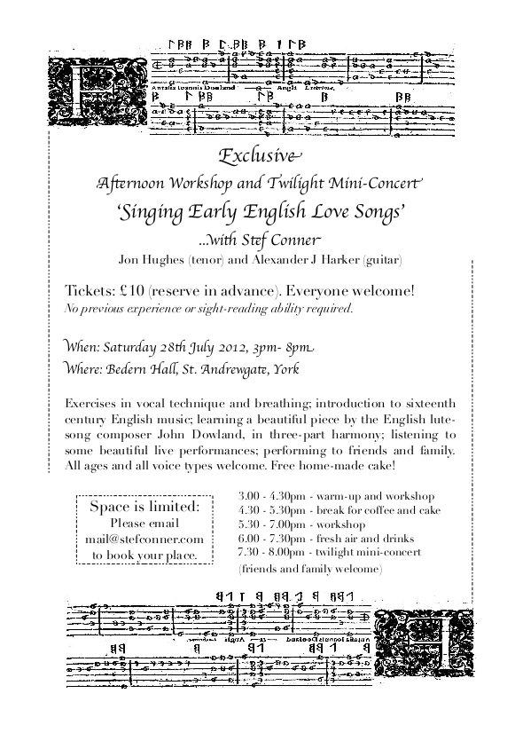 Lute song workshop flyer