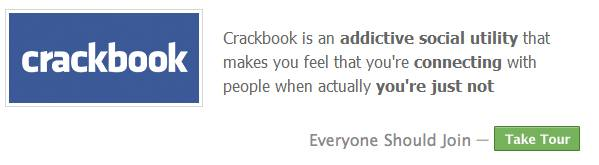 crackbook login page -- funny facebook spoof