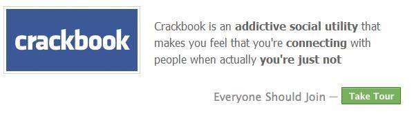 crackbook login page -- funny facebook spoof