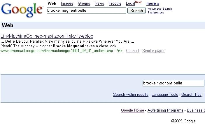 The Belle de Jour Googlewack