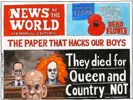 Steve Bell Cartoon On The News Of The World