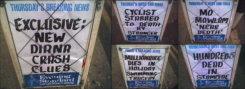 Evening Standard Headlines August 2005