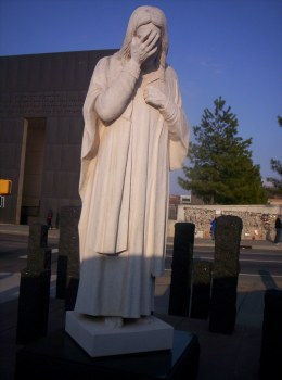 "Photo of the statue ""Jesus Wept"" at the Oklahoma City Memorial by Crimsonedge34."