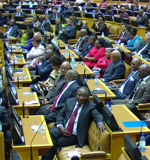 Member of Parliament for the Republic of South Africa listening to President Zuma's State of the Nation Address. February 12, 2015