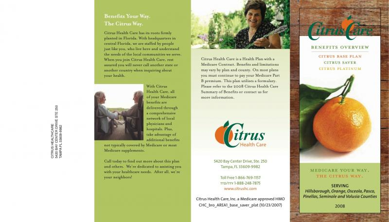 TinWoman   Writing Samples Brochure Sample 1   Citrus Healthcare Trifold