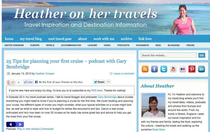 25 Tips for First Time Cruisers with Gary Bembridge by Heather on her Travels