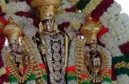 Lord Sri Venkateswara With His Consorts Sri Devi And Bhudevi