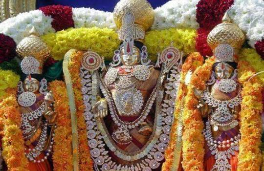 Lord Sri Venkateswara With His Consorts