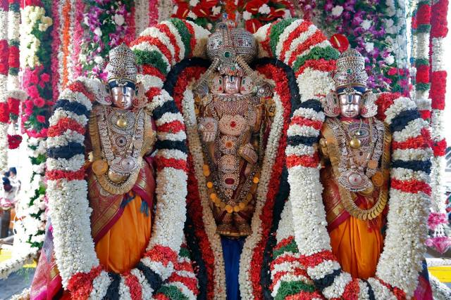 Lord Malayappa Swamy With Sridevi And Bhudevi..