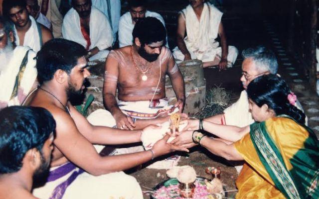 Sri Subbarao And Smt.Venkat Lakshmi Performing The Gayathri Maha Yagam In May,2005