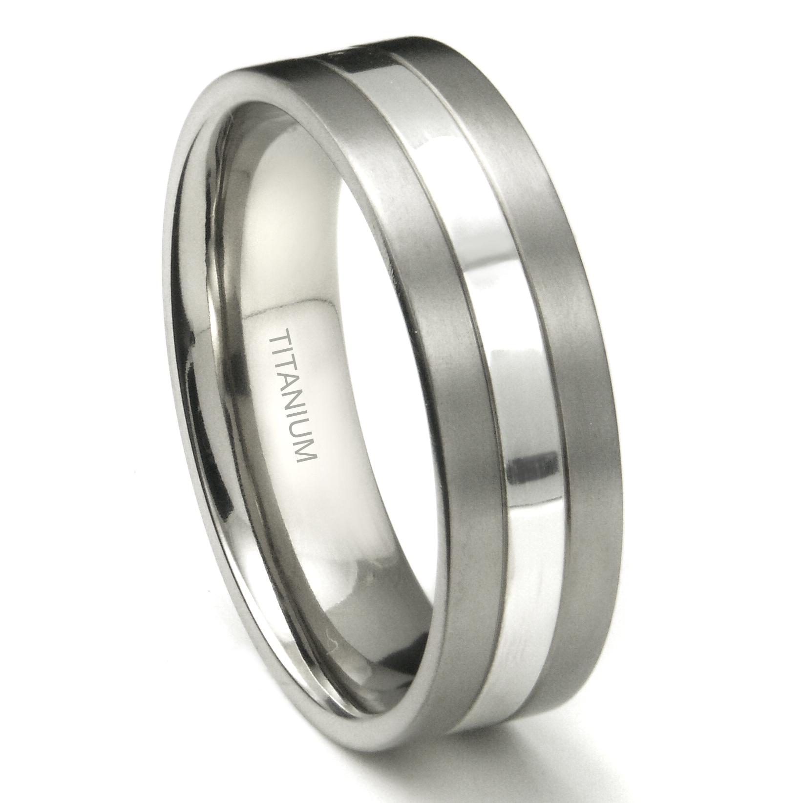 Titanium 7mm Two Tone Wedding Ring P mens titanium wedding rings Home Men s Titanium Wedding Rings Loading zoom