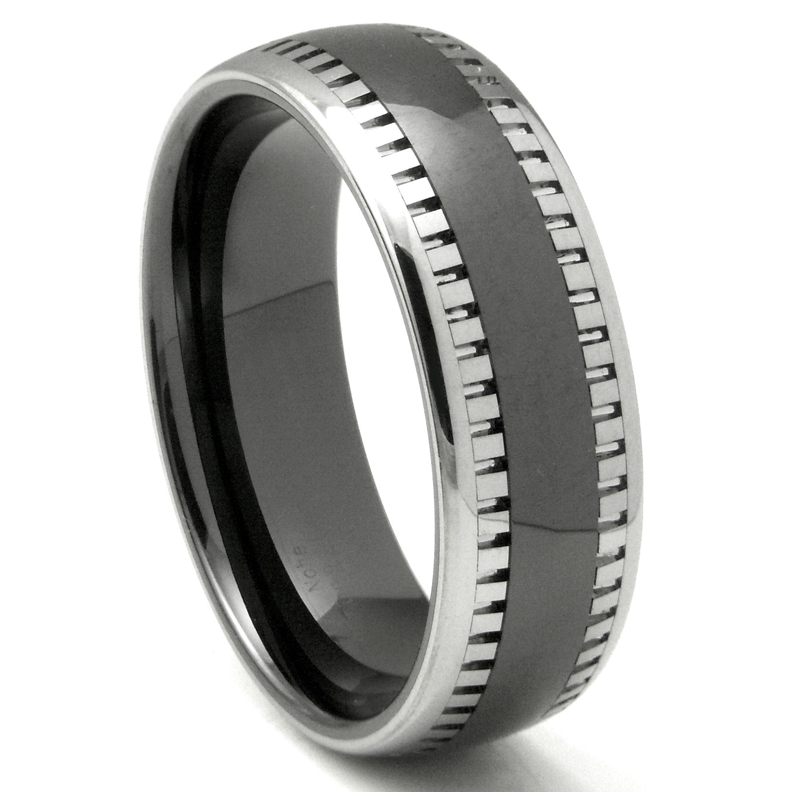 Mens Tungsten Carbide Rings 1 tungsten hammered wedding band 2nd Generation Tungsten Carbide Two Tone Milgrain Dome Wedding Band Ring