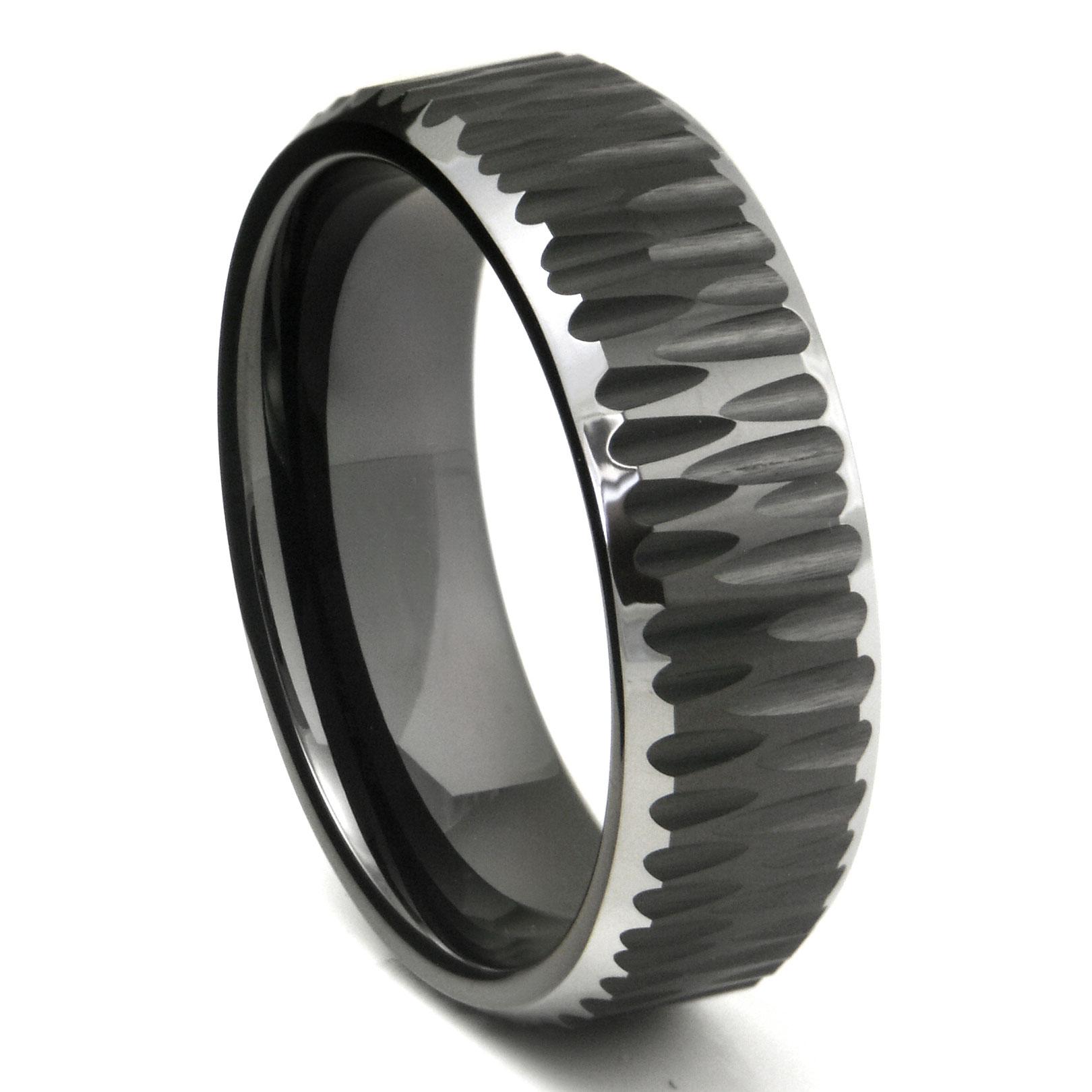 Black Tungsten Carbide Hammer Finish Beveled Wedding Band Ring P tungsten hammered wedding band Loading zoom