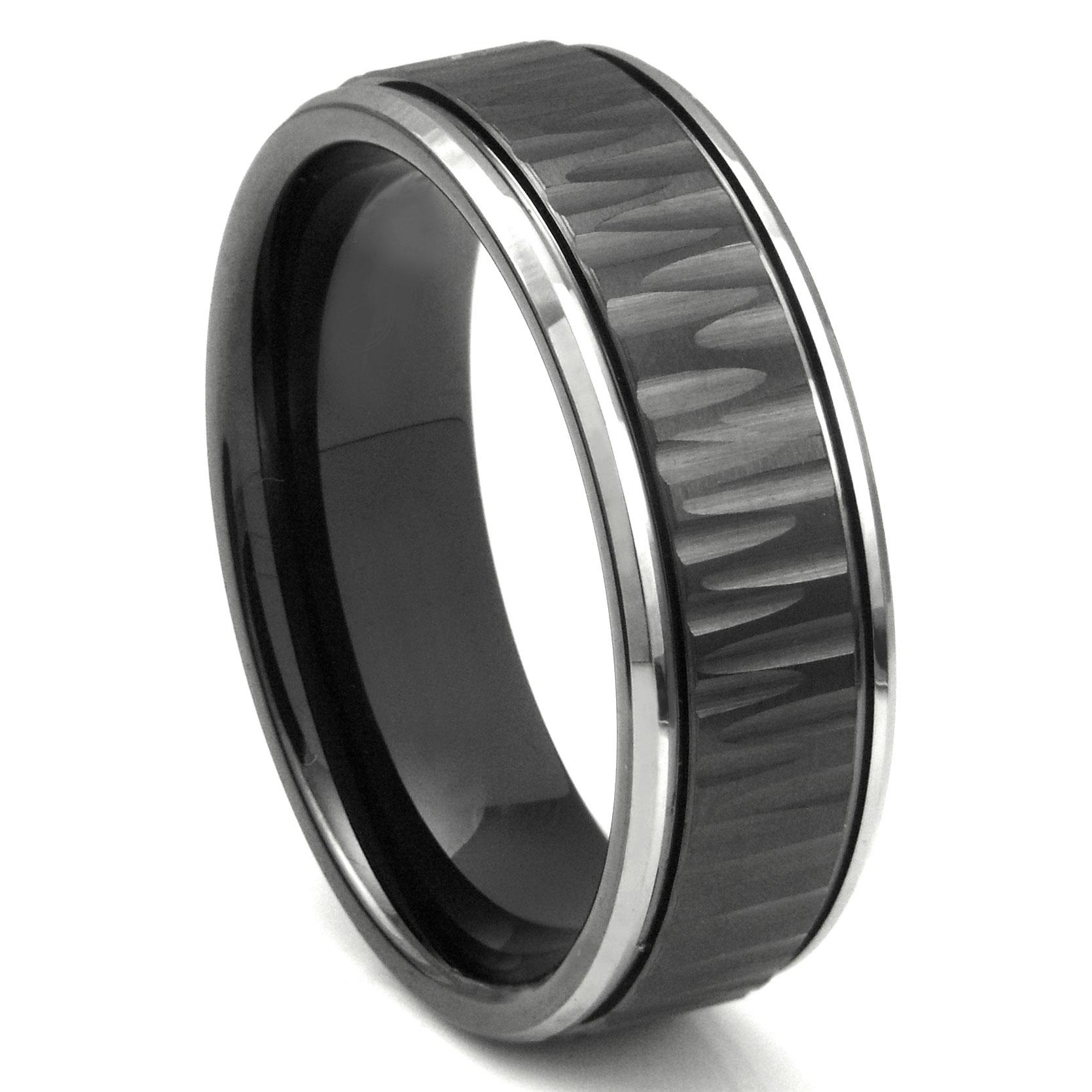 Black Tungsten Carbide 8MM Hammer Finish Newport Wedding Band Ring P tungsten wedding band Home Men s Tungsten Carbide Rings Loading zoom