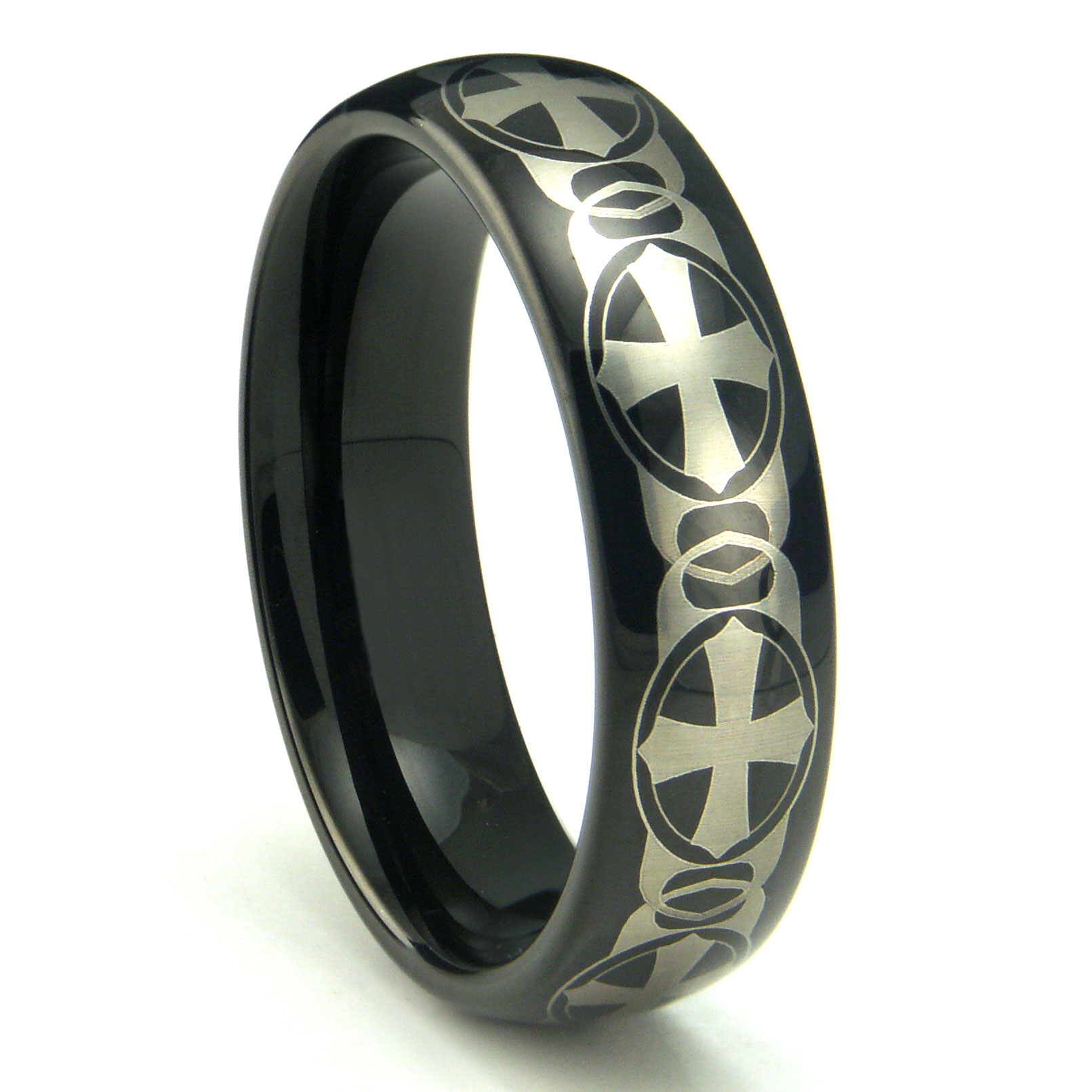 Mens Tungsten Carbide Rings mens ceramic wedding bands Black Tungsten Carbide Laser Engraved Celtic Cross Dome Wedding Band Ring