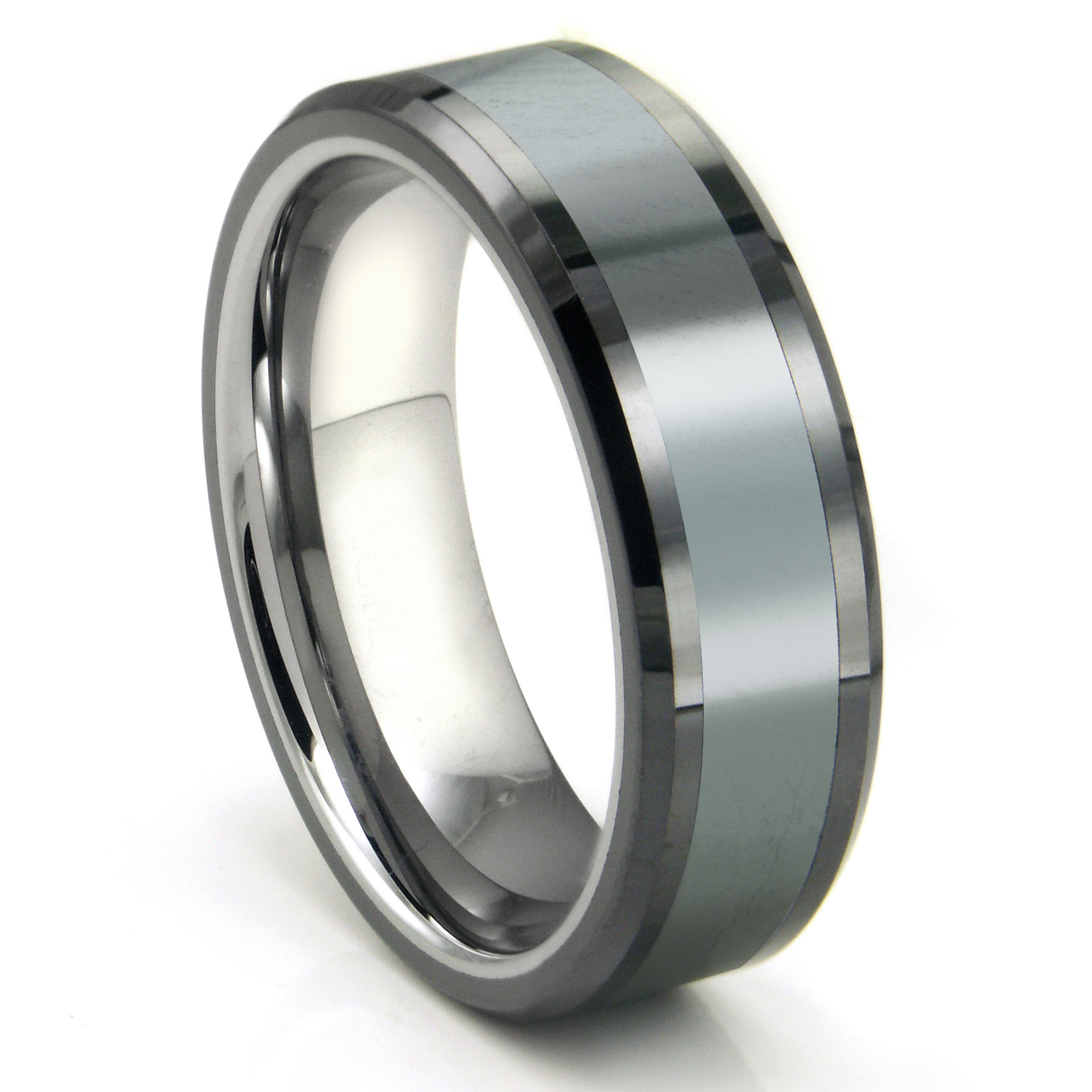 Mens Tungsten Carbide Rings wedding bands men Tungsten Carbide Grey Meteorite Inlay Wedding Band Ring