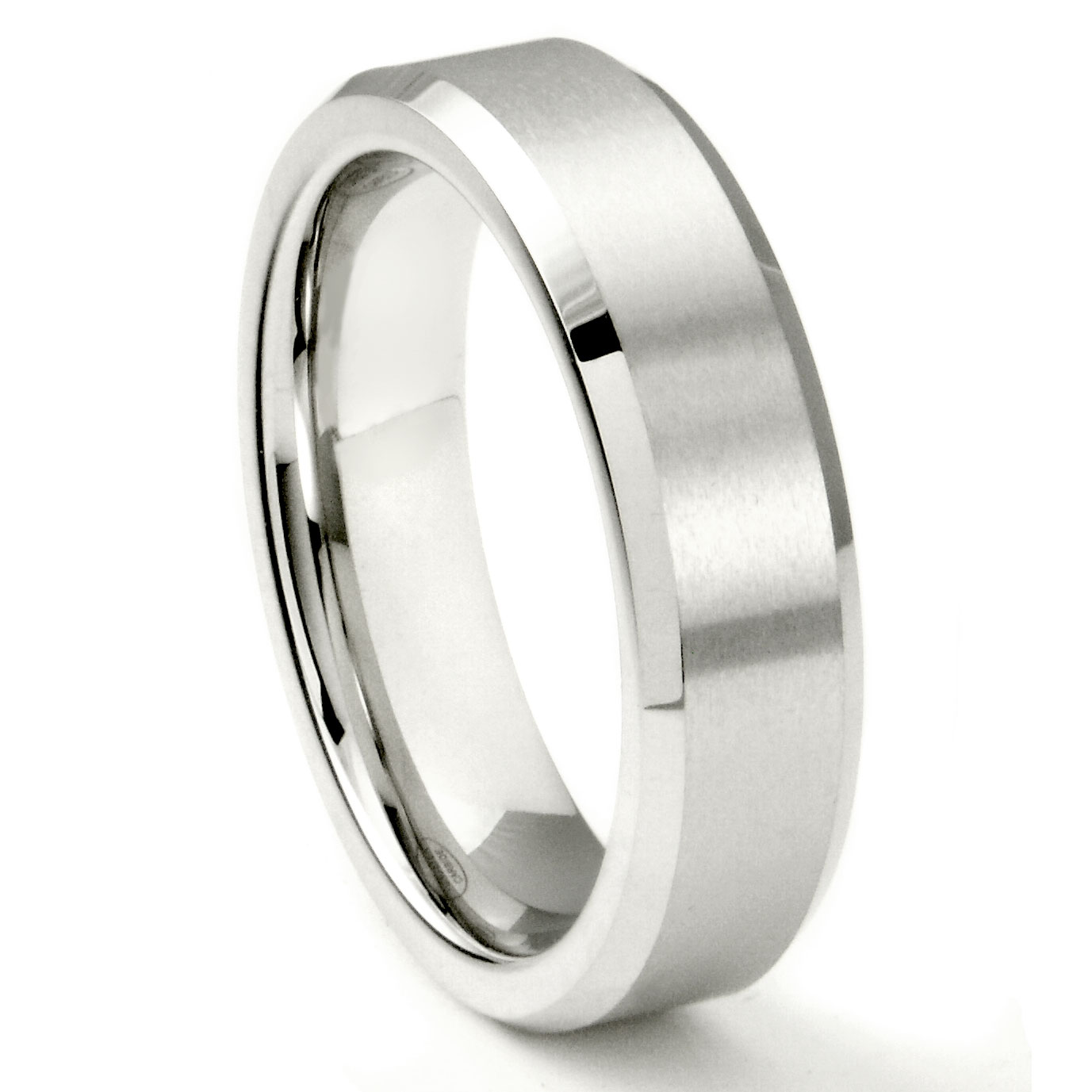 White Tungsten Carbide 6MM Beveled Wedding Band Ring P kay mens wedding bands Loading zoom