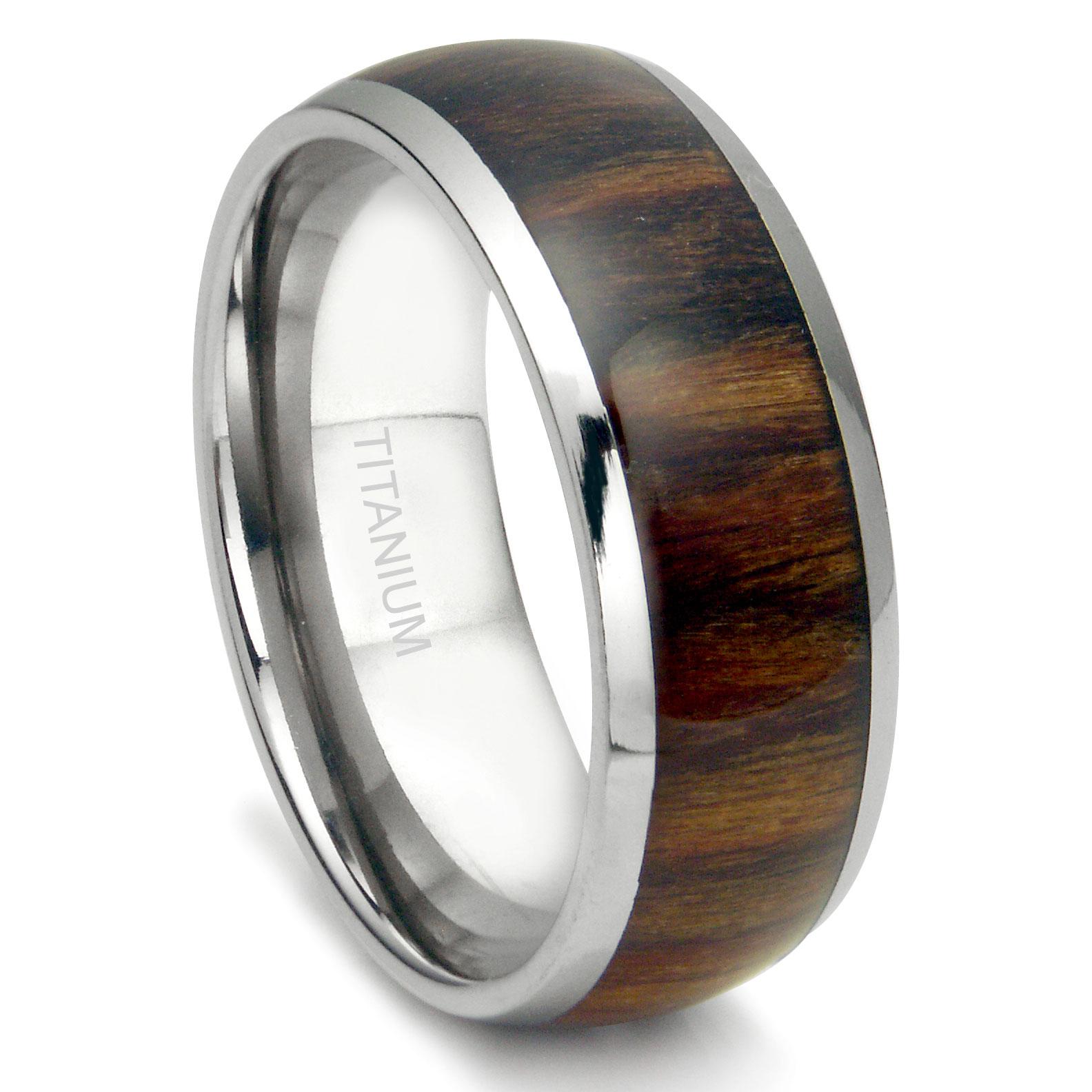 Mens Titanium Wedding Rings mens cable wedding band Titanium 8MM Domed Santos Rosewood Inlay Wedding Band Ring