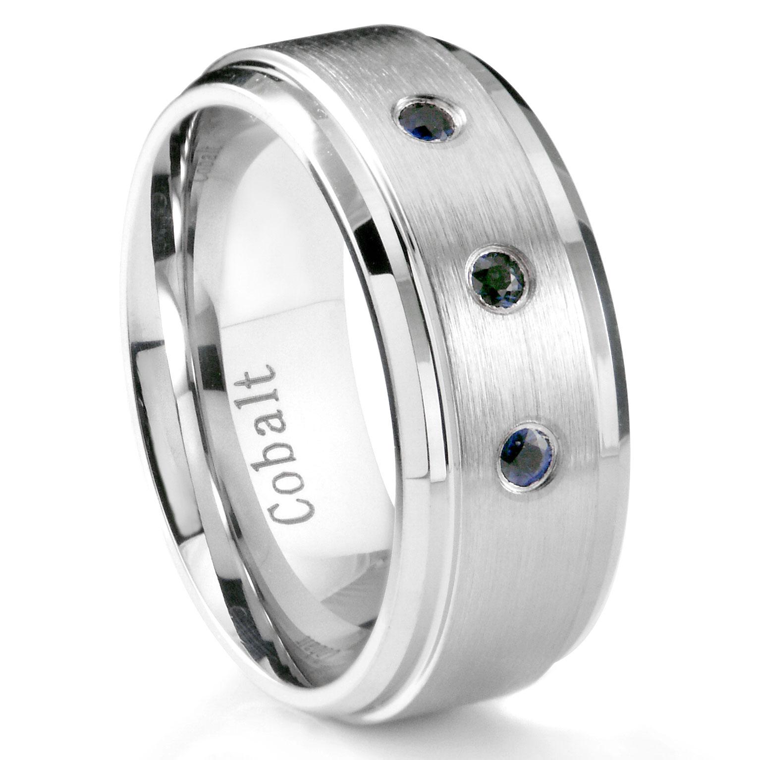 Cobalt Chrome 8MM 3 Blue Sapphire Wedding Band Ring w Stepped Edges P sapphire wedding bands Loading zoom