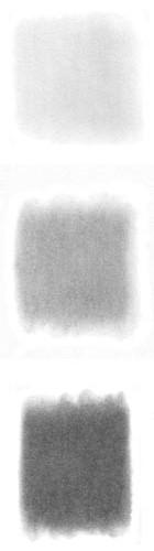 Powdered graphite swatches.