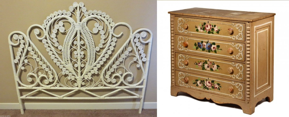 wicker headboard Maine cottage pine painted dresser