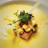 corn-butternut soup pork belly fennel