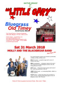 Little Opry Poster Sat 31 Mar 2018 - MOLLY AND THE BLACKBRIAR BAND