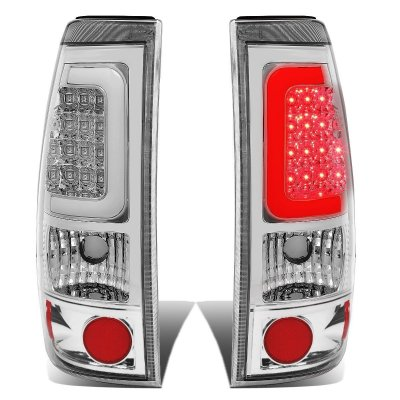 GMC Sierra 2500HD 2001 2006 Chrome LED Tail Lights Tube     GMC Sierra 2500HD 2001 2006 Chrome LED Tail Lights Tube