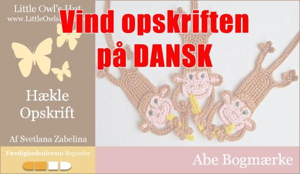 Vind opskrift på abe bogmærke fra Little Owls Hut